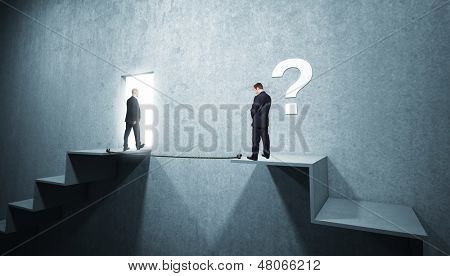 business people and 3d concrete stair