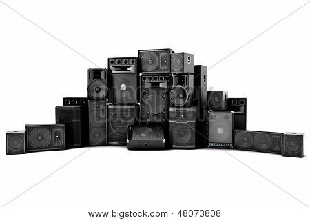 Large group of speakers in a row