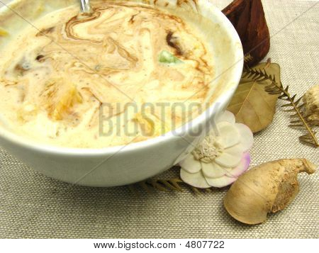Yogurt Floured With Chocolate In A Bowl Of Chinaware And Table D