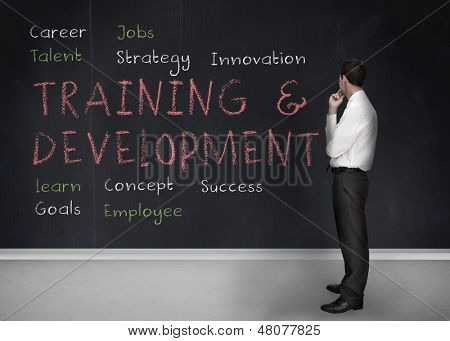 Businessman looking at training and development terms written on a blackboard