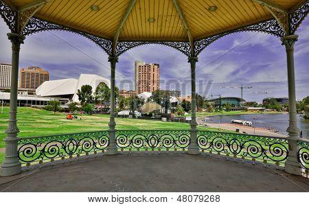 Adelaide and Torrens River framed by the Elder Park Rotunda