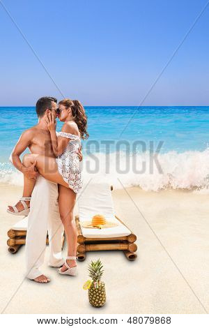 Couple in love at summer resort