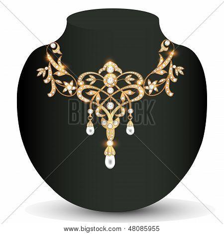 Mujeres de boda collar de oro con piedras preciosas