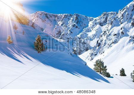 Mountain Valley And Snow