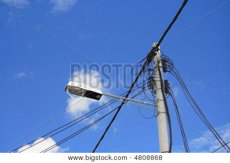 Street Lamp Post And Blue Sky