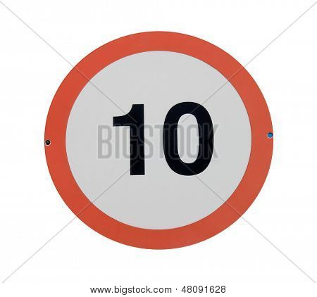 Red traffic sign with speed limit of 10 isolated on white background.