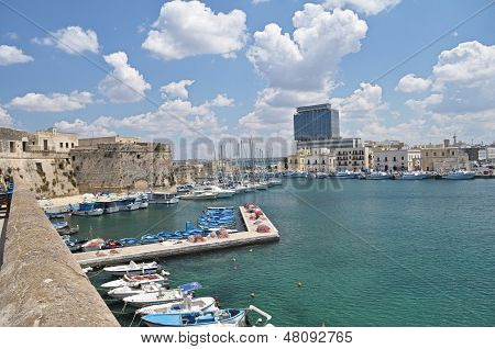 Panoramic view of Gallipoli harbour,Italy