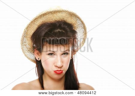 Funny Brunette Girl In Hat Retro Styling