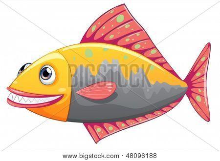 Abbildung eines bunten großen Fisches auf weißem Hintergrund
