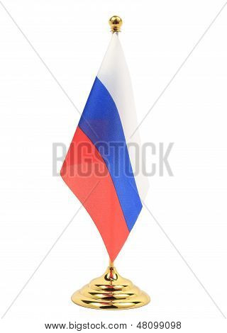 Russia National Flag Hanging On The Gold Flagstaff