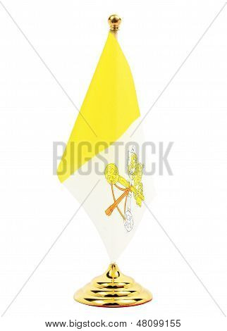 Vatican Flag Hanging On The Gold Flagstaff,isolated On The White Background