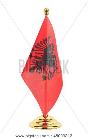 Albania Flag Hanging On The Gold Flagstaff,isolated On The White Background
