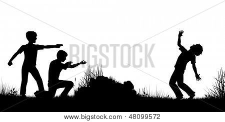 Editable vector silhouette of young boys playing as soldiers firing guns with figures as separate objects