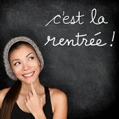 Cest la Rentree Scolaire - French college university student woman thinking Back to School written i