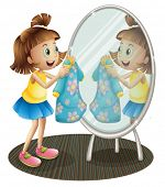 Illustration of a girl looking at the mirror with her dress on a white background