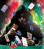 picture of poker hand  - Portrait of a professional poker player - JPG