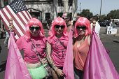 SAN DIEGO, CALIFORNIA - JULY 13: Participants and spectators in the yearly Gay Pride Parade on July