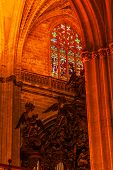 Arch Stained Glass Statues Cathedral Of Saint Mary Of The See Vane Seville Spain