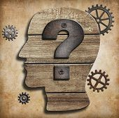 stock photo of anonymous  - Human head silhouette with question mark concept - JPG