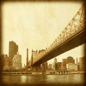 Grunge image of Queensboro Bridge in New York City.