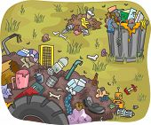 Illustration of Waste Dump in a Field