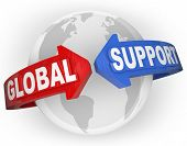 The words Global Support on arrows around a globe planet Earth to illustrate international aid, supp