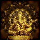 stock photo of hindu-god  - Golden Sculpture Hindu God Ganesha with grunge background - JPG