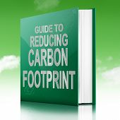 stock photo of carbon-footprint  - Illustration depicting a book with a carbon footprint concept title - JPG