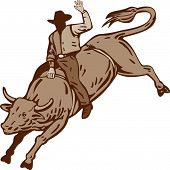 image of bull riding  - Vector illustration on the extreme sport of rodeo isolated on white background - JPG