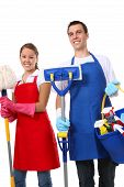 foto of cleaning service  - An attractive man and woman holding cleaning supplies - JPG