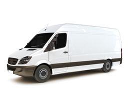 stock photo of moving van  - Industrial van on a white background - JPG