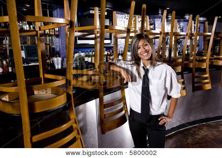 Bartender in closed bar