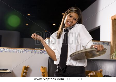Multitasking waitress