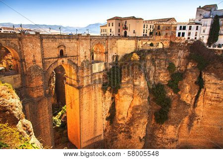 New Bridge Landmark And Gorge In Ronda Village. Andalusia, Spain.