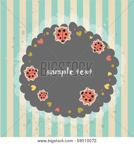 Retro banner with ladybugs