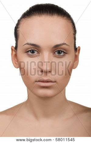 Portrait of girl with stepping makeup. Step 2
