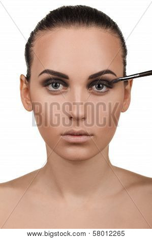 Portrait of girl with stepping makeup. Step 6