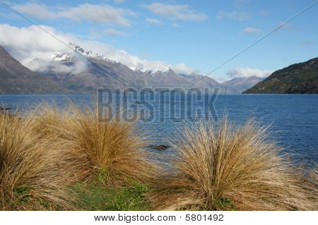 Lake Wakatipu And Mountains From Queenstown New Zealand