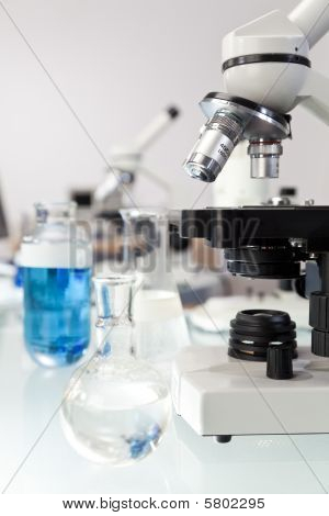 Microscope And Medical Research Equipment In A Scientific Slaboratory