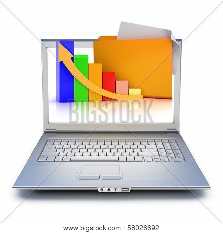 Laptop with file folders and graph extruding from the screen