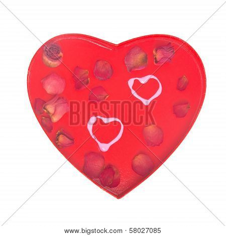 Two Hearts Concept With Rose Petals