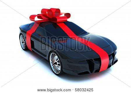 The big gift, sports car with bow