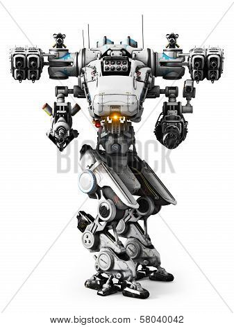 White Mech weapon with full array of guns pointed