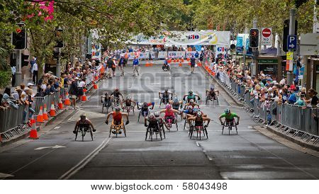 Wheelchair athletes competing in Sydney race