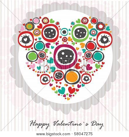 Vector Valentine`s Day postcard with abstract heart