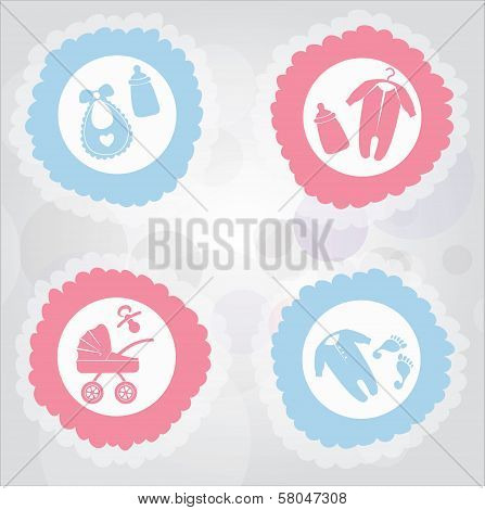 Birth Announcement icons for boy or girl