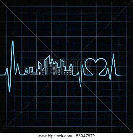 Heartbeat make a building design and heart