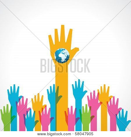 Colorful helping hand with earth icon