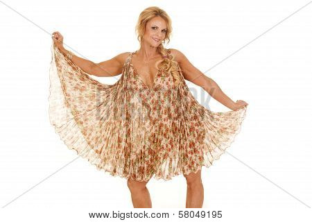 Mature Woman Flower Dress Hold Out Looking