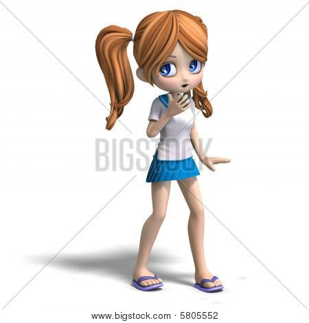 Cute Cartoon School Girl